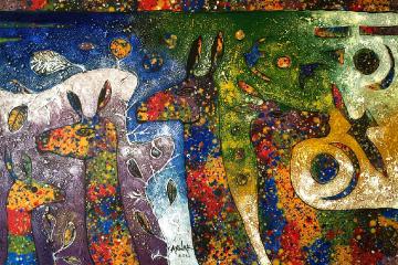 白木さんお気に入りアイテムの絵画。ウガンダ人アーティストの作品。